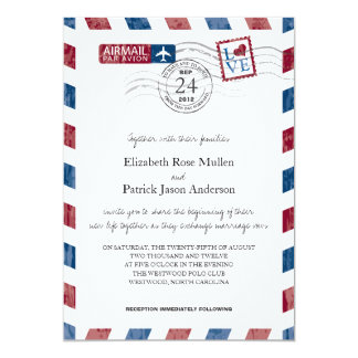Antique Airmail Wedding Invitation