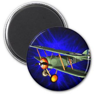 Antique airplane on blue 6 cm round magnet