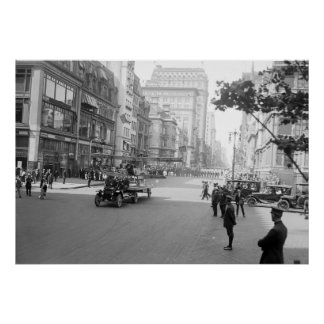 Antique Airplane on Parade in NYC, early 1900s Poster