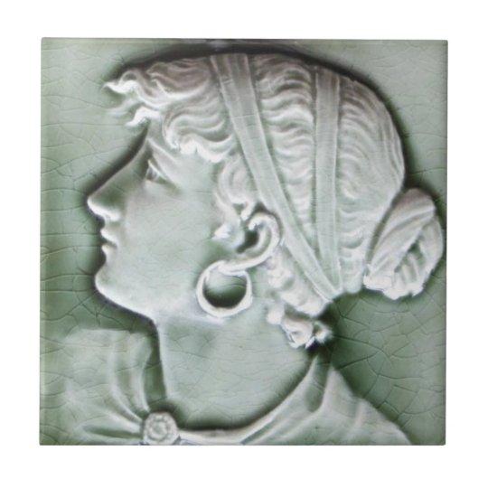 Antique American c1890 Trent Portrait Tile Repro