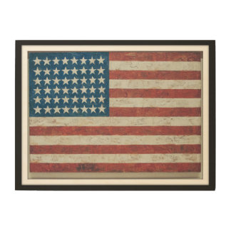 Antique American Flag 48 States Framed Wood Print