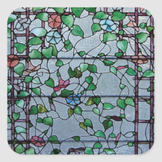 ANTIQUE AMERICAN STAINED GLASS -MORNING GLORY VINE SQUARE STICKER