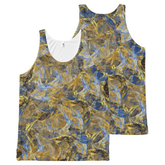 Antique Anciently Gold Blue Vintage Design All-Over Print Tank Top