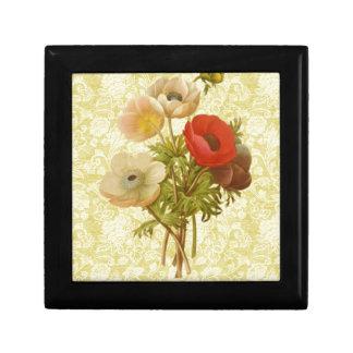 Antique Anemone Botanical Small Square Gift Box