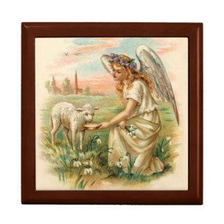 Antique Angel Feeding A Lamb Large Square Gift Box