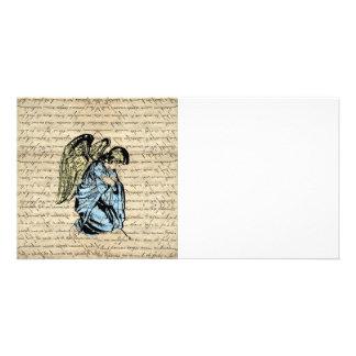 Antique angel illustration  on vintage paper card