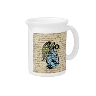 Antique angel illustration  on vintage paper pitcher