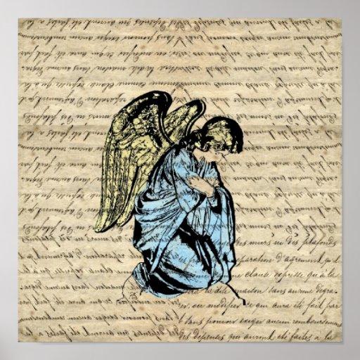 Antique angel illustration  on vintage paper poster