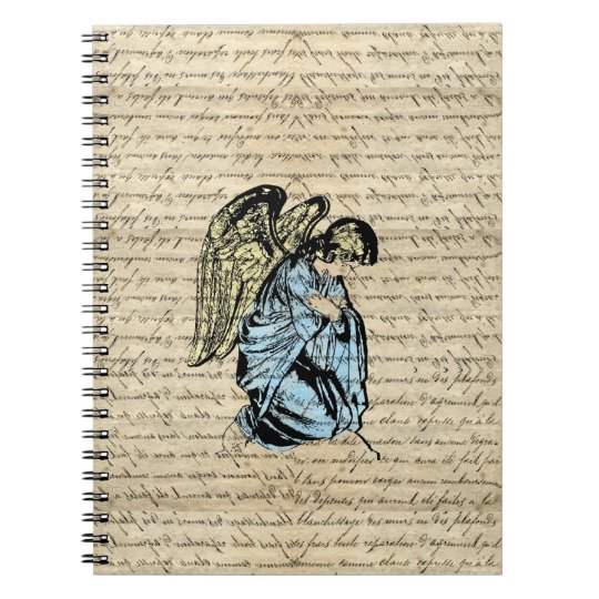 Antique angel illustration  on vintage paper spiral notebook