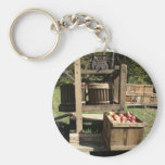 Antique Apple Cider Press Basic Round Button Key Ring