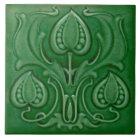 Antique Art Nouveau Green Majolica Repro Tile