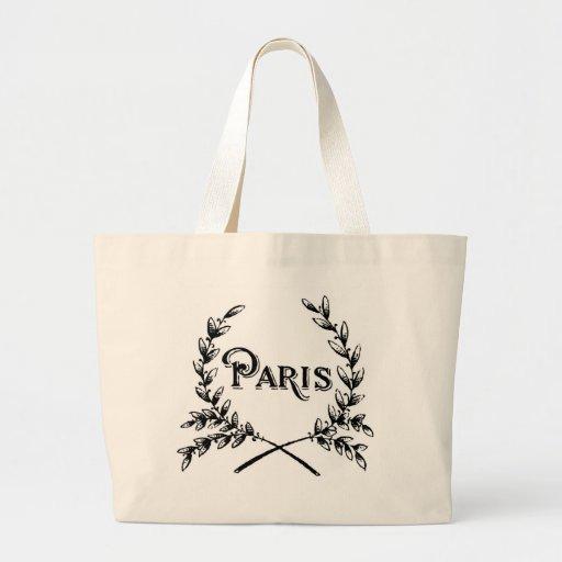 Antique Art Nouveau Paris Wreath Logo Canvas Bags