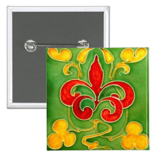 Antique Art Nouveau Wall Tile Vintage Arts Crafts 15 Cm Square Badge