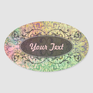 Antique ARTs Ornament Pattern for your Design Oval Sticker