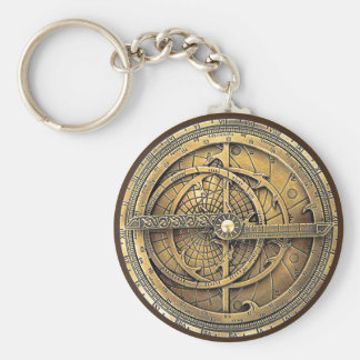 Antique Astrolabe 2 Basic Round Button Key Ring