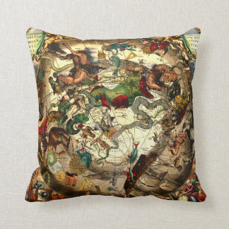 Antique Astrology Astronomy Sky World Map Vintage Cushion