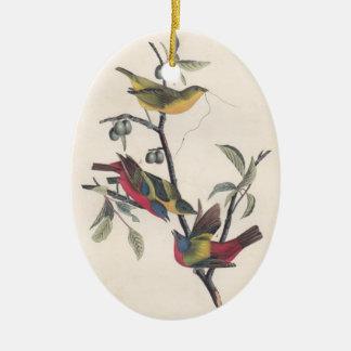 Antique Audubon Painted Bunting Christmas Ornament