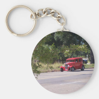 Antique Automobile Basic Round Button Key Ring