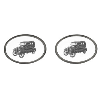 Antique Automobile Gunmetal Finish Cuff Links