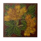 Antique Autumn Colours Floral Majolica Tile Repro