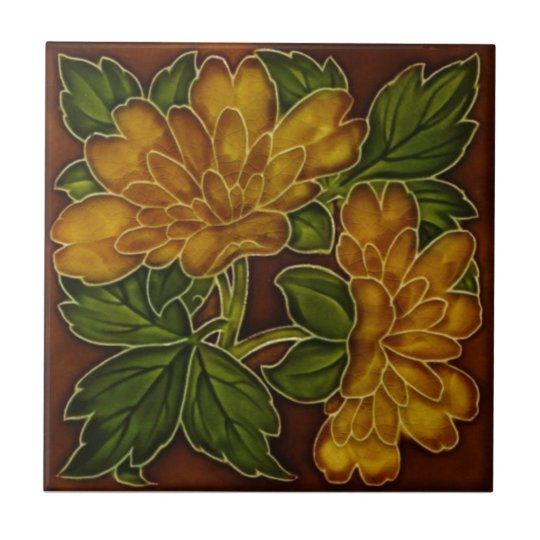 Antique Autumn Colours Floral Majolica Tile Repro