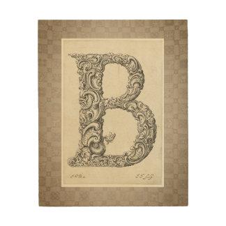 "Antique ""B"" Initial Wood Wall Art"