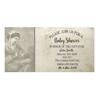 Antique Baby Shower Aged Rustic Mom & Child Card