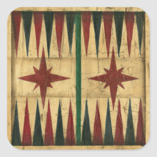 Antique Backgammon Game Board by Ethan Harper Square Sticker