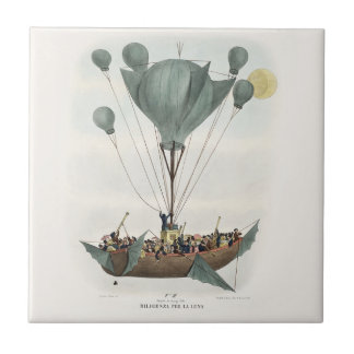 Antique Balloon Air Ship Small Square Tile