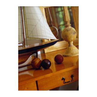 Antique Baseballs On A Table By A Model Sailboat Acrylic Wall Art