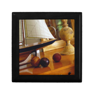 Antique Baseballs On A Table By A Model Sailboat Small Square Gift Box