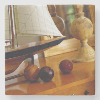 Antique Baseballs On A Table By A Model Sailboat Stone Coaster