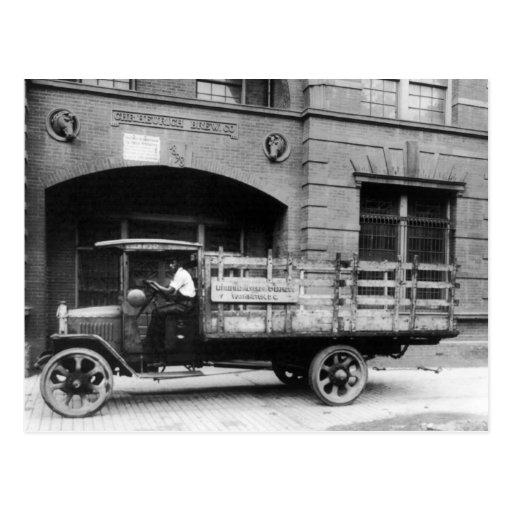Antique Beer Truck, 1920s Postcard