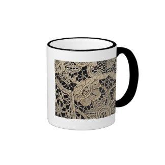 Antique Belgian Zele Lace Ringer Mug