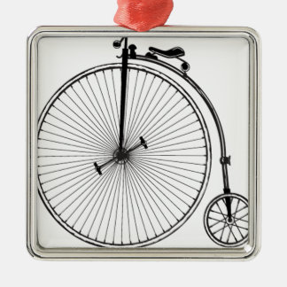 Antique Bicycle Silver-Colored Square Decoration