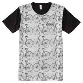 Antique Bicycle Vintage Bike Two Wheels Transport All-Over Print T-Shirt
