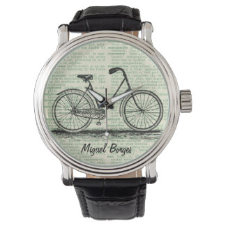 Antique Bicycle Vintage Book Page Art Green Custom Watch