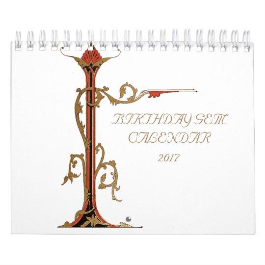 Antique Birthday Gems Wall Calendar
