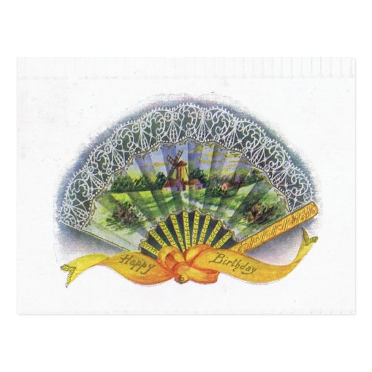 Antique Birthday Post Card-Victorian Fan, Windmill Postcard