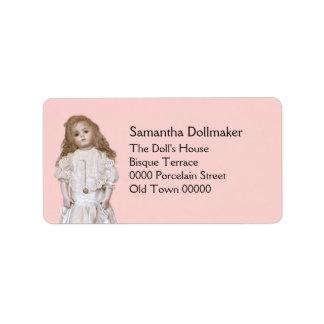 Antique bisque reproduction doll address label