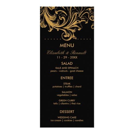 Antique Black and Gold Floral Wedding Menu Card