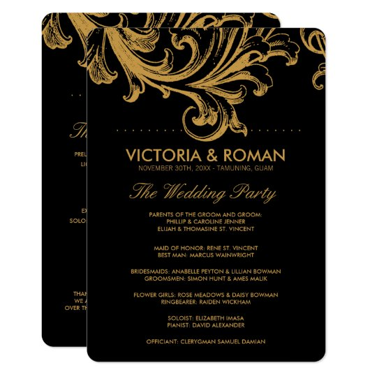 Antique Black and Gold Floral Wedding Programs