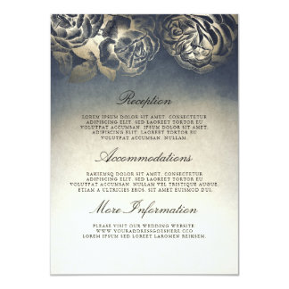 Antique Blue and Gold Wedding Information Guest Card