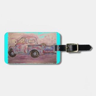 antique blue patina truck bag tag