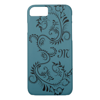 Antique Blue Scroll Monogram Case