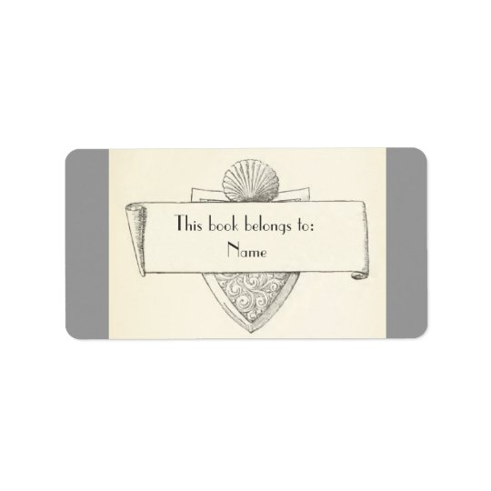 Antique Bookplate Illustration Sticker