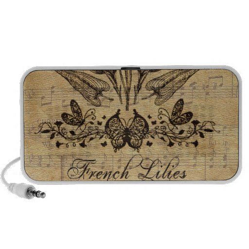 Antique Botanical French Lillies Notebook Speakers