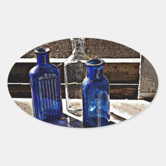 Antique Bottles Artwork Oval Sticker