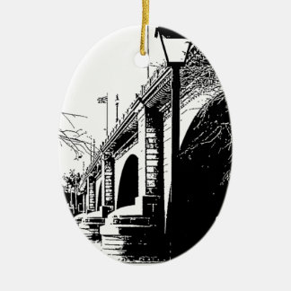 Antique Bridge in Pen and Ink Ceramic Oval Decoration