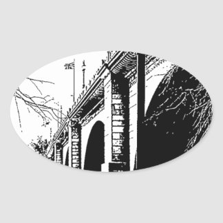 Antique Bridge in Pen and Ink Oval Sticker